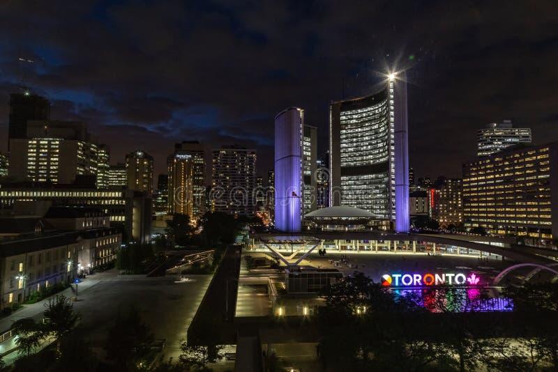 Ciudad Hall Toronto Canada en la noche imagen de archivo libre de regalías