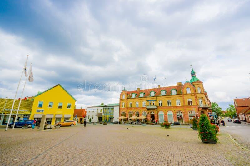 Ciudad hermosa de Simrishamn, Suecia fotos de archivo