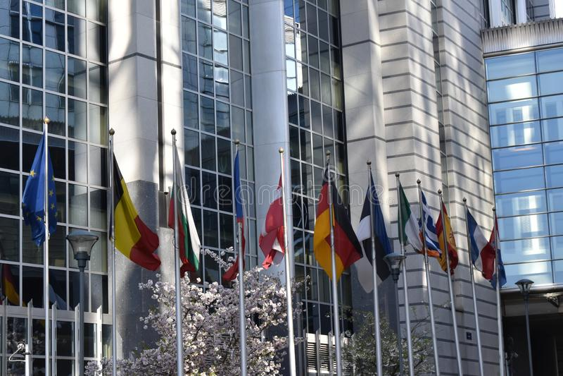 Ciudad histórica de Bruselas y ciudad parlamentaria europea foto de archivo libre de regalías