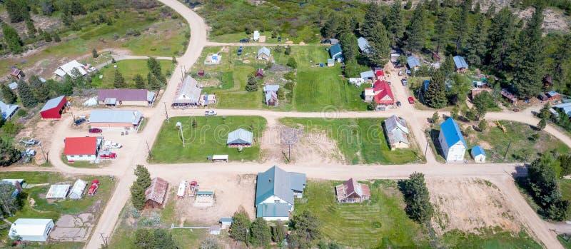 Ciudad histórica de Placerville Idaho desde arriba imagen de archivo