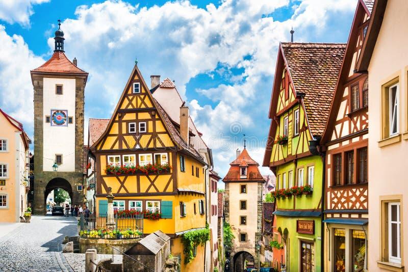 Ciudad histórica del der Tauber, Baviera, Alemania del ob de Rothenburg imagenes de archivo