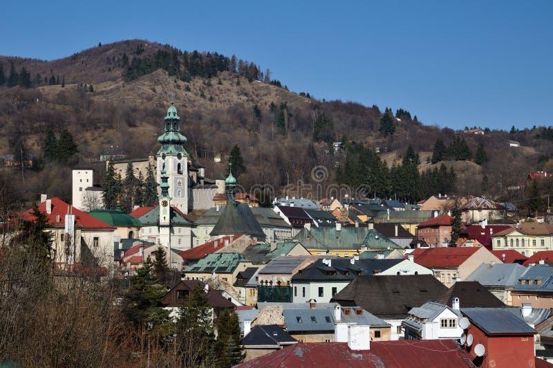 Ciudad histórica Eslovaquia de la explotación minera de Banska Stiavnica foto de archivo libre de regalías