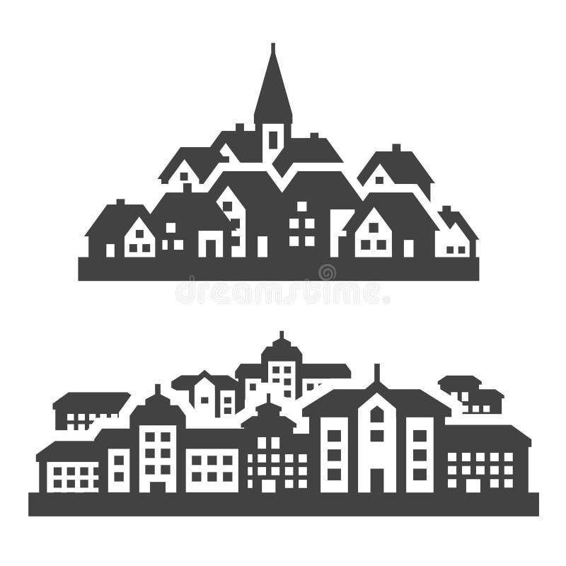 Ciudad, iconos de la ciudad fijados Muestras y símbolos ilustración del vector