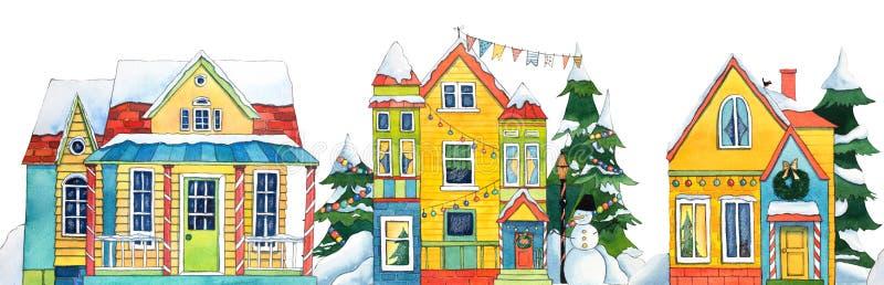 Ciudad inconsútil del pueblo de la calle del invierno de la acuarela de la frontera con el muñeco de nieve, árboles, banderas, ni libre illustration