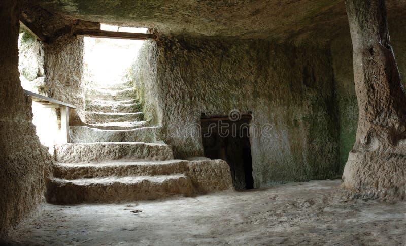 Ciudad interior de la cueva de la Chufut-col rizada, Crimea, Ucrania imágenes de archivo libres de regalías