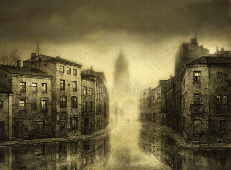 Ciudad inundada ilustración del vector