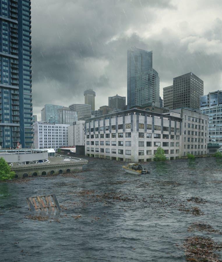 Ciudad inundada con el barco fotos de archivo libres de regalías