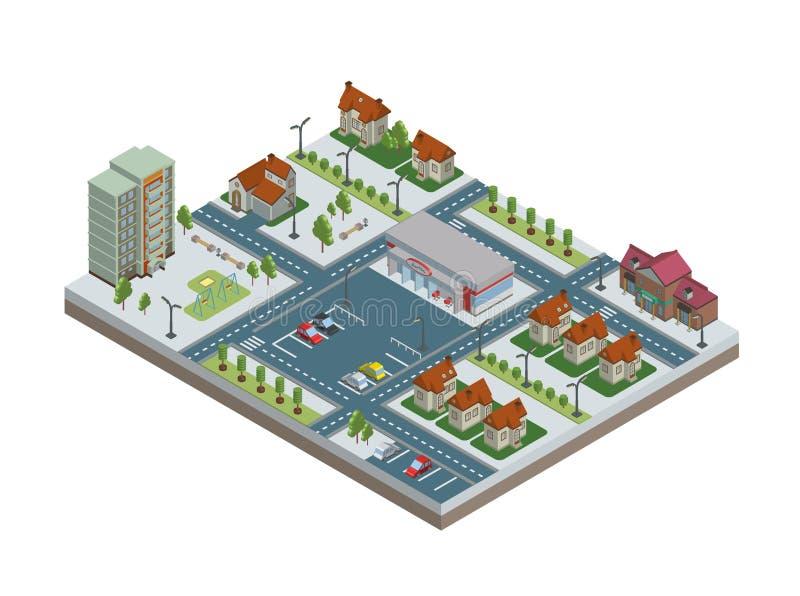 Ciudad isométrica con los edificios, el estacionamiento y la tienda Centro de la ciudad y suburbios Ilustración del vector, aisla ilustración del vector