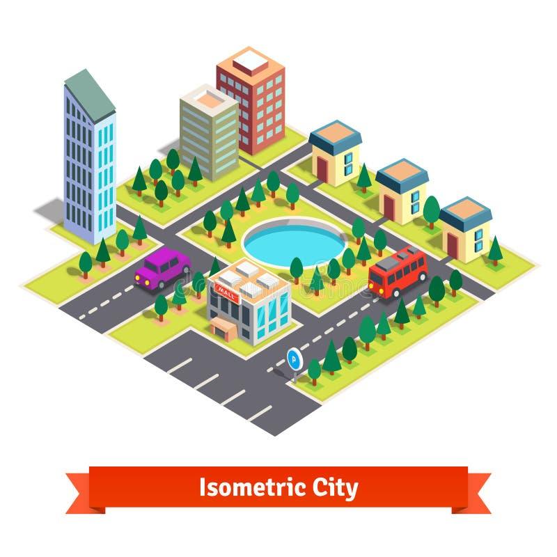 Ciudad isométrica con los rascacielos y el transporte libre illustration