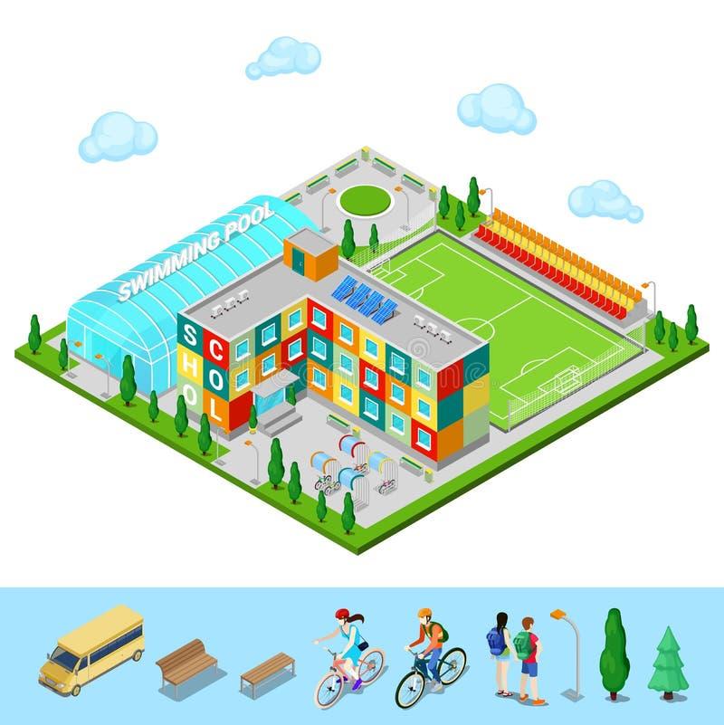 Ciudad isométrica Construcción de escuelas con la piscina y el campo de fútbol stock de ilustración