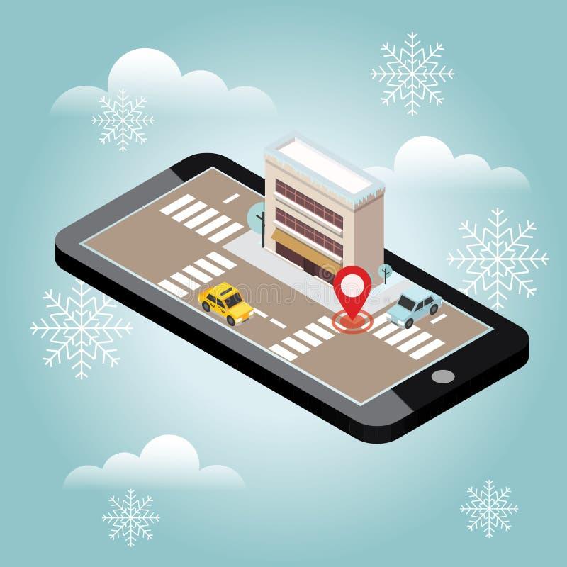 Ciudad isométrica Día de invierno de la nieve Esperar una Navidad y un Año Nuevo Seguimiento móvil del geo correspondencia Edific stock de ilustración