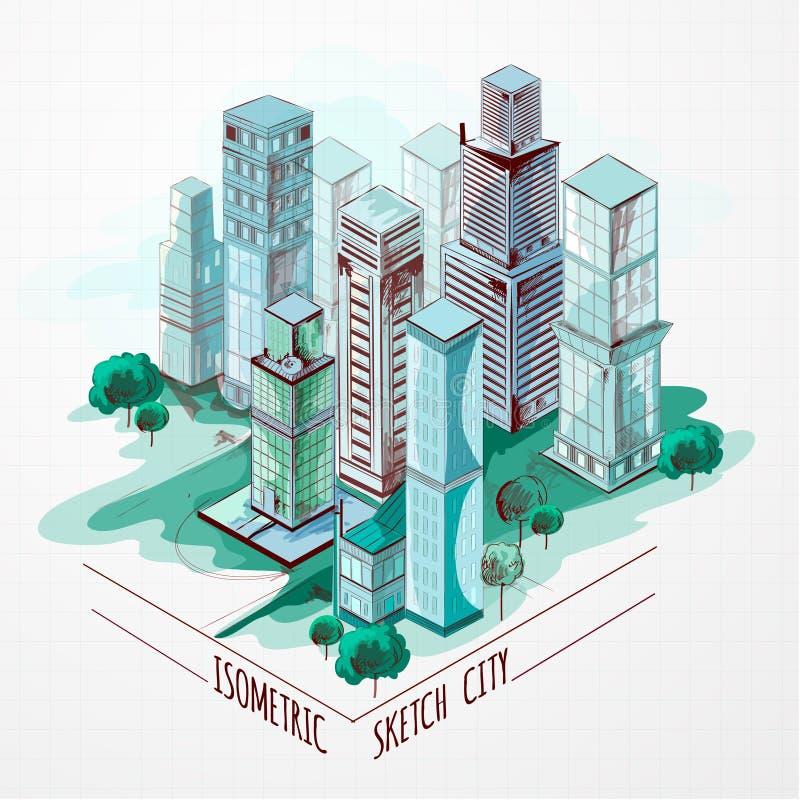 Ciudad isométrica del bosquejo coloreada stock de ilustración