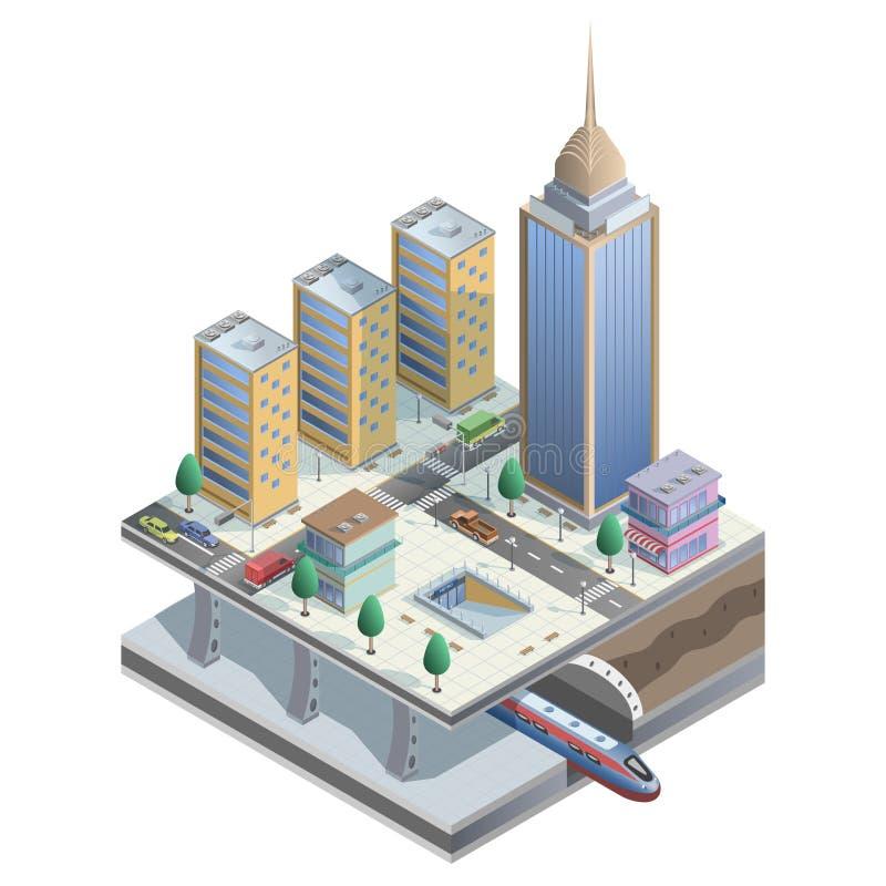 Ciudad isométrica del vector con el metro, las tiendas y los elementos de la calle ilustración del vector