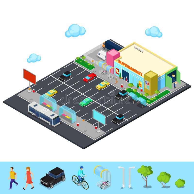 Ciudad isométrica Edificio del supermercado con aparcamiento, la parada de autobús y los lugares de la bicicleta ilustración del vector