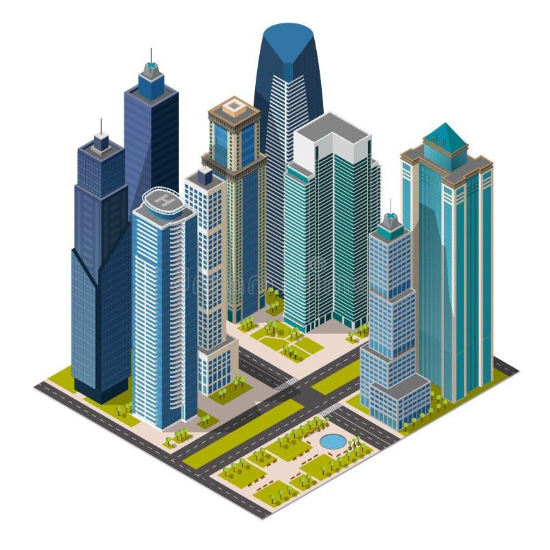 Ciudad isométrica, edificios de oficinas del concepto de los megapolis, rascacielos, señales 3d ilustración del vector