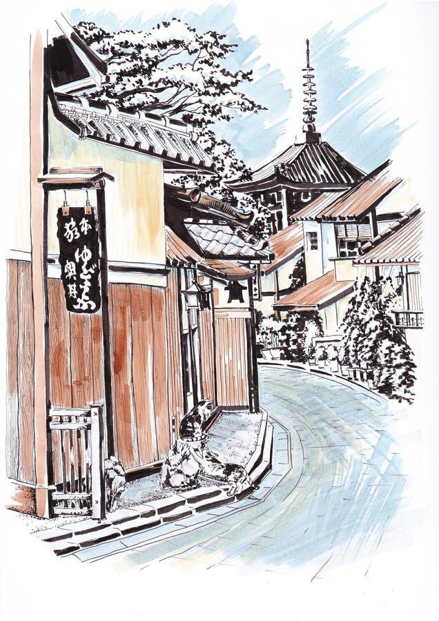 Ciudad japonesa Bosqueje a los marcadores stock de ilustración