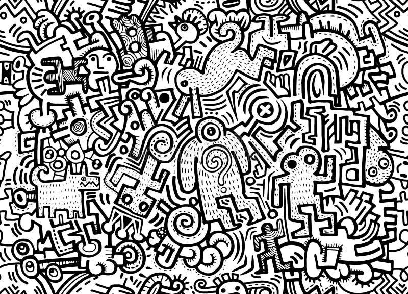 Ciudad loca dibujada mano del monstruo del garabato del inconformista, vagos inconsútiles de dibujo ilustración del vector