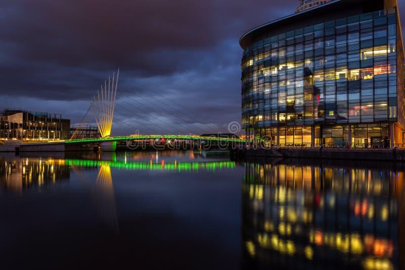 Ciudad Manchester de los media foto de archivo