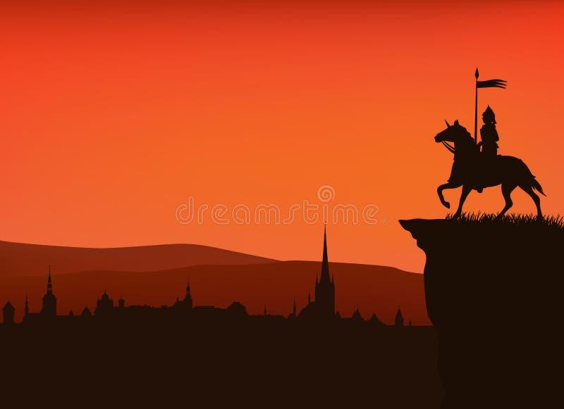 Ciudad medieval stock de ilustración