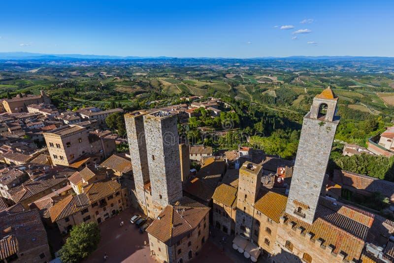 Ciudad medieval de San Gimignano en Toscana Italia foto de archivo libre de regalías