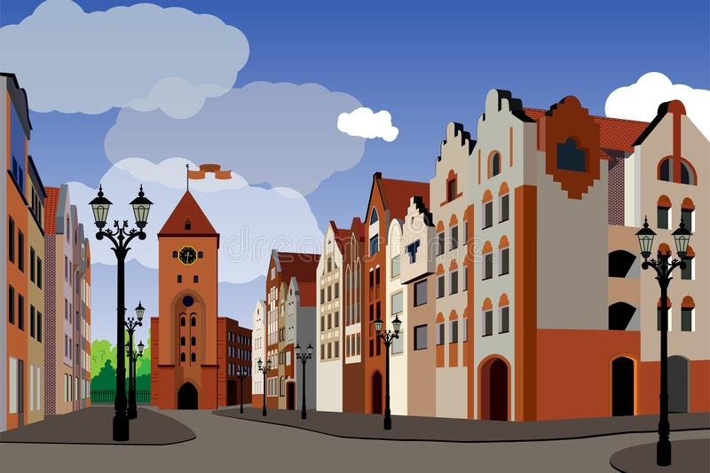 Ciudad medieval turística Imagen de las casas, calles, ayuntamiento, lant libre illustration