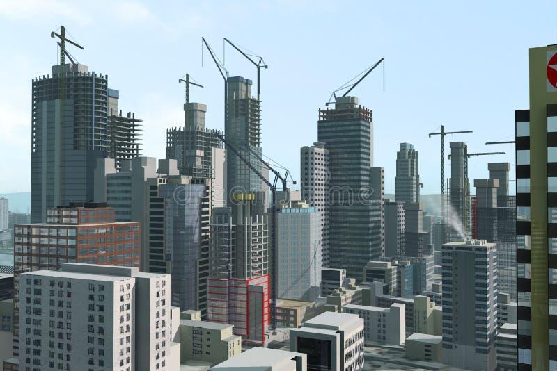 Ciudad moderna bajo construcción imagenes de archivo