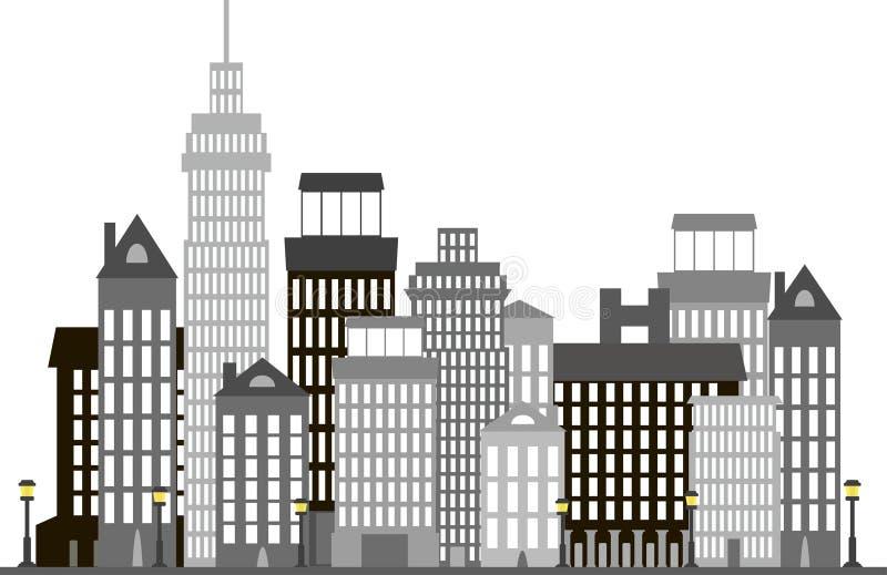 Ciudad moderna con los edificios altos y las linternas encendidas, negro, blanco, grises ilustración del vector
