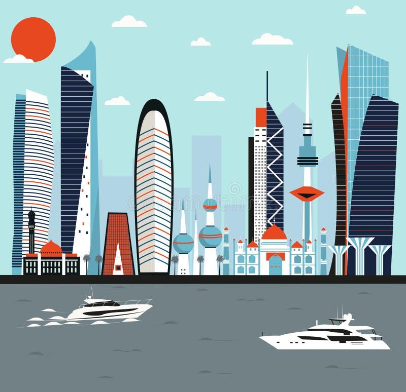 Ciudad moderna de Kuwait stock de ilustración