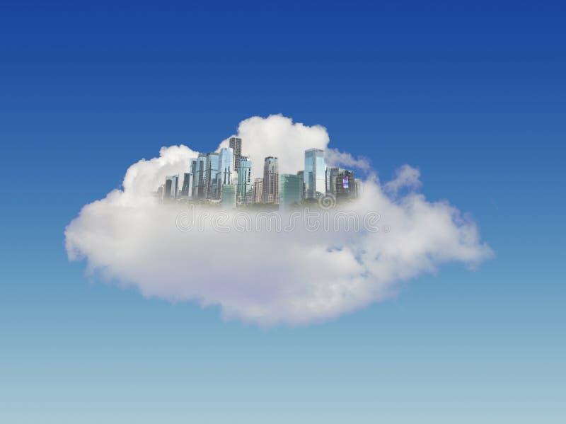Ciudad moderna en nubes imagenes de archivo