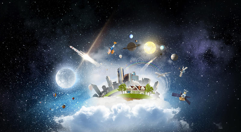 Ciudad moderna en nubes Técnicas mixtas imágenes de archivo libres de regalías