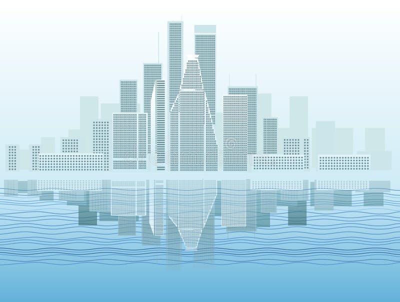 Ciudad moderna por la mañana stock de ilustración