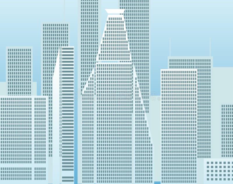 Ciudad moderna por la mañana libre illustration