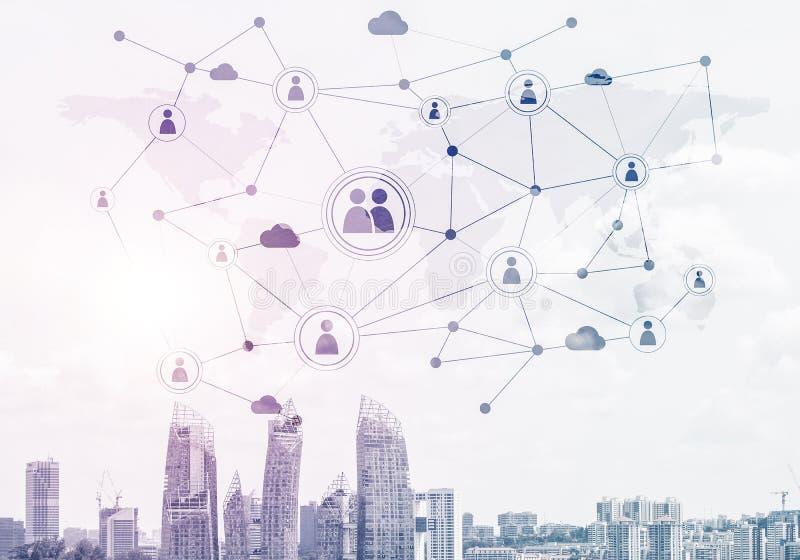 Ciudad moderna y red social como concepto para el establecimiento de una red global stock de ilustración