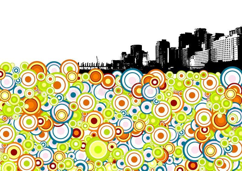 Ciudad negra con los círculos. Vector stock de ilustración