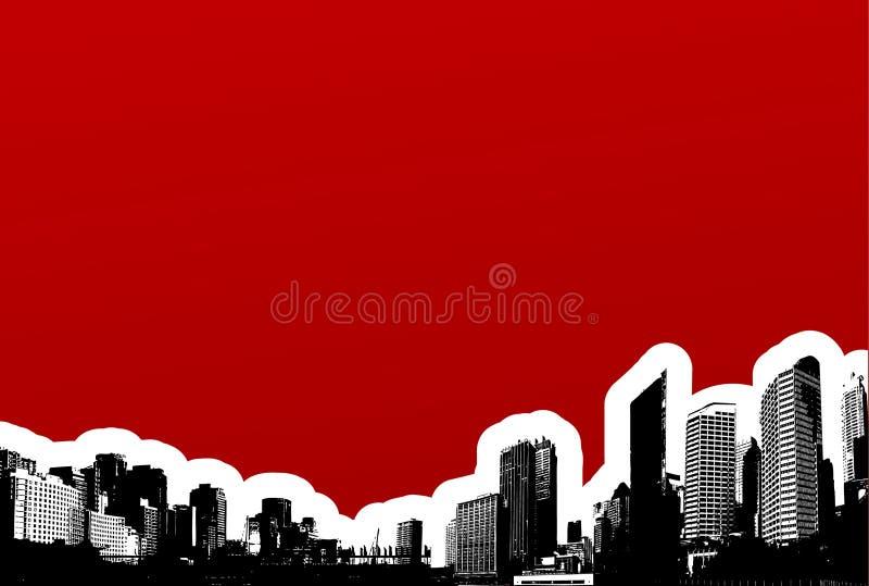 Ciudad negra en fondo rojo. stock de ilustración