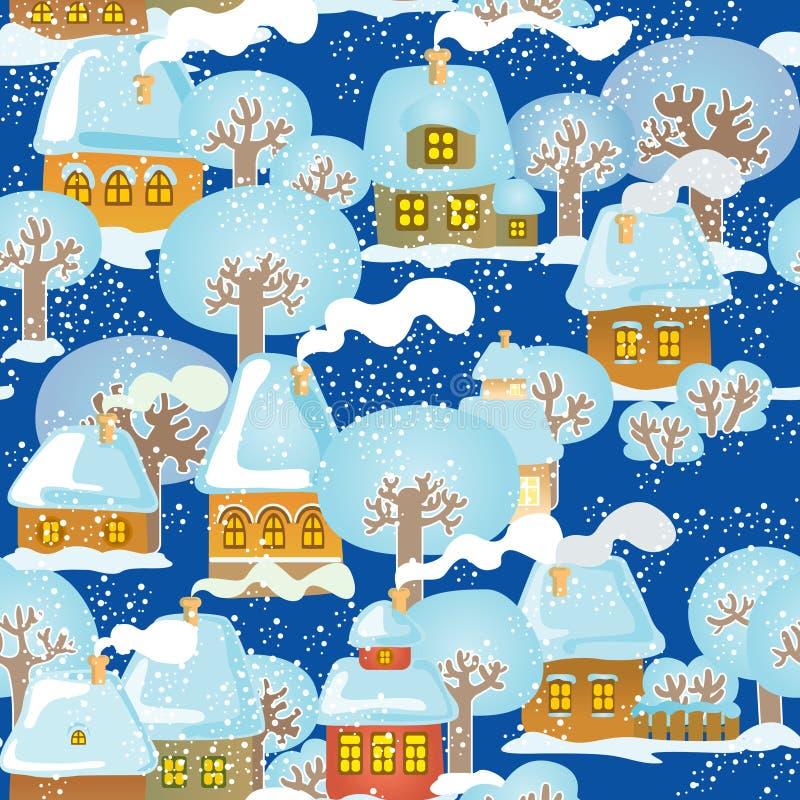 Ciudad nevada ilustración del vector
