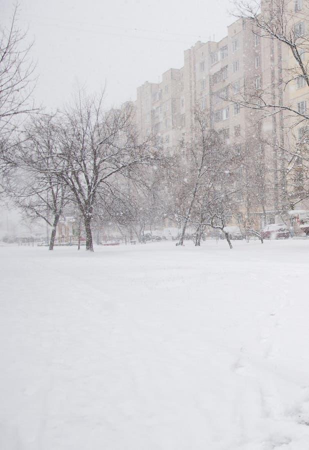 Ciudad nevosa blanca fría del invierno fotografía de archivo libre de regalías