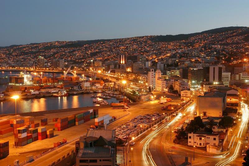 Ciudad Nocturna, Valparaiso stockfotografie