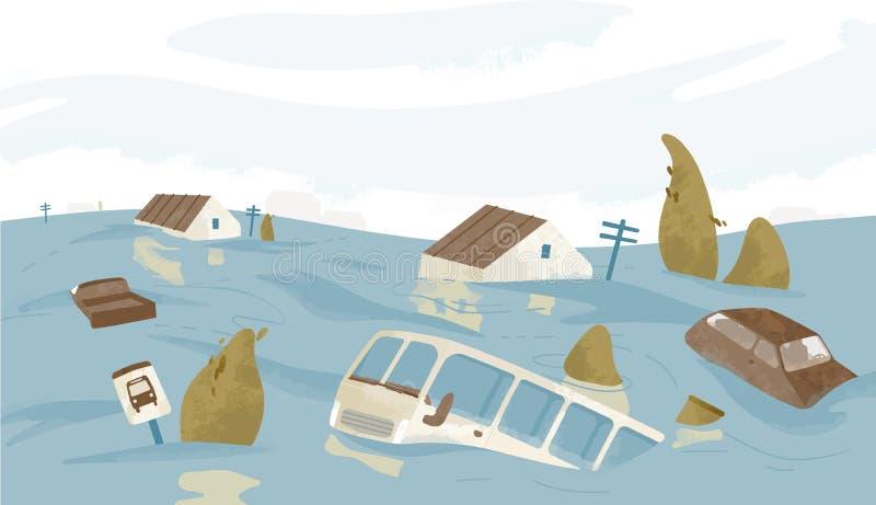 Ciudad o pueblo inundada Casas, coches, árboles, señales de tráfico sumergidas Edificios y automóviles cubiertos con agua travies stock de ilustración