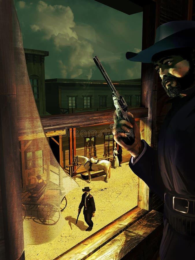 Vieja emboscada del oeste stock de ilustración