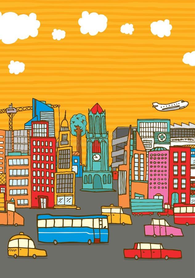 Ciudad ocupada colorida con el espacio de la copia libre illustration