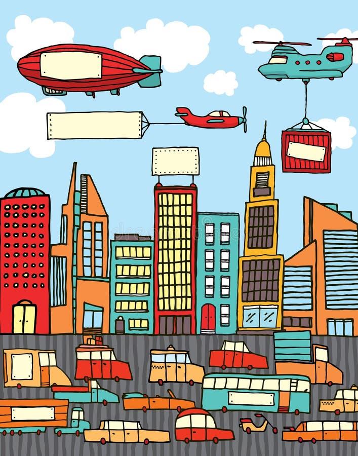 Ciudad ocupada de la historieta ilustración del vector