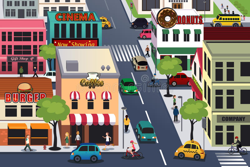 Ciudad ocupada por la mañana stock de ilustración