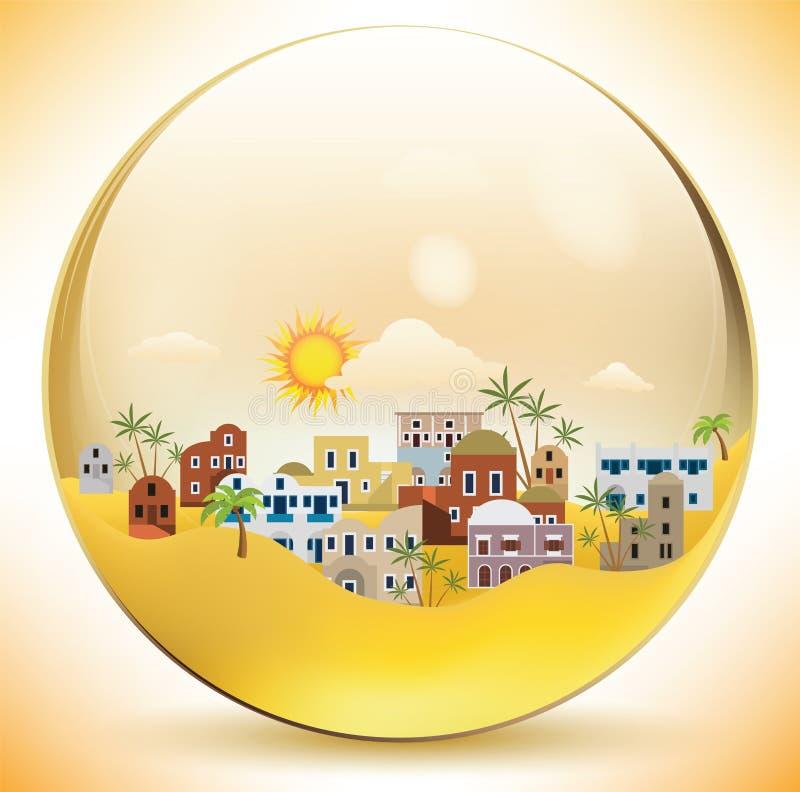 Ciudad oriental en una esfera de cristal stock de ilustración