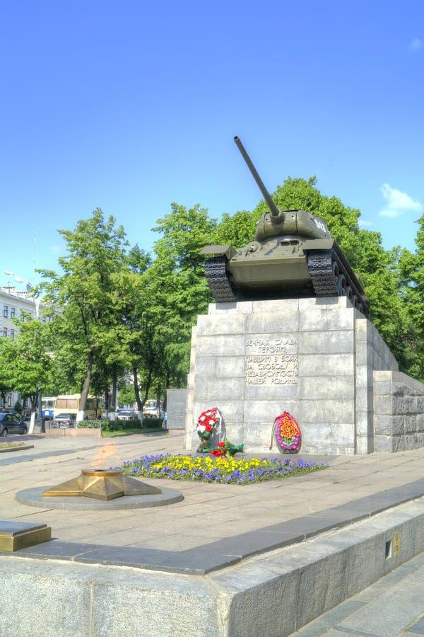 Ciudad Oryol Monumento al cuadrado del mundo de los petroleros imagen de archivo libre de regalías