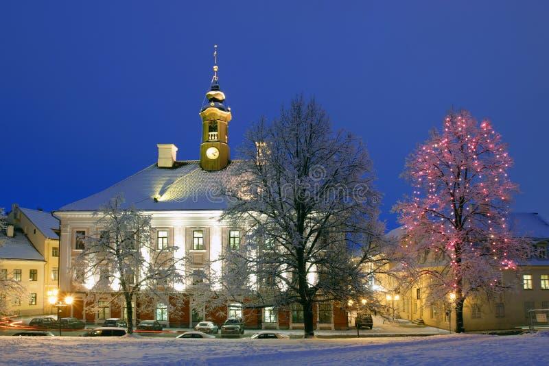 Ciudad-pasillo de Tartu, iluminado fotos de archivo libres de regalías