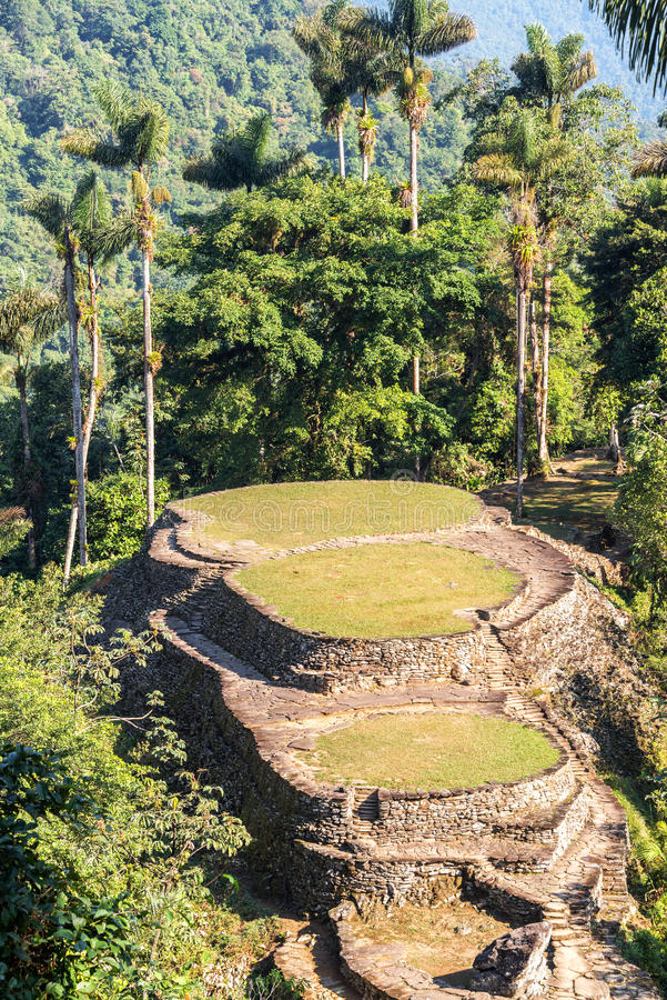 Ciudad Perdida in Colombia. Ancient city of Ciudad Perdida near Santa Marta, Colombia stock images