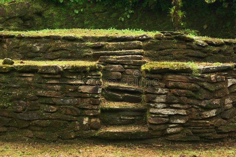 Ciudad Perdida (Lost City) in Northern Colombia. Old stone stairs leading to a terrace on which the people of Tayrona had built their huts in Ciudad Perdida ( stock images