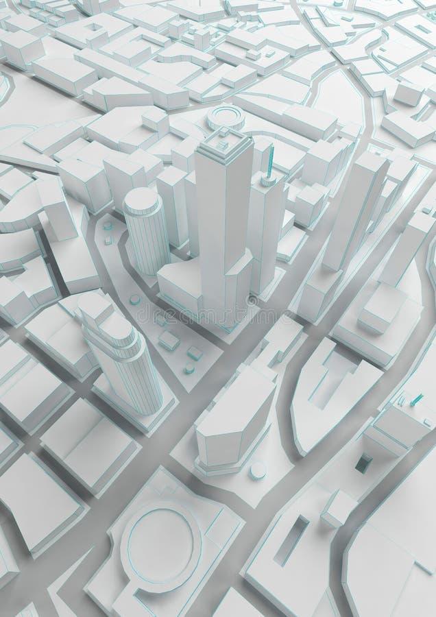 Ciudad polivinílica baja del extracto blanco con las líneas azules libre illustration