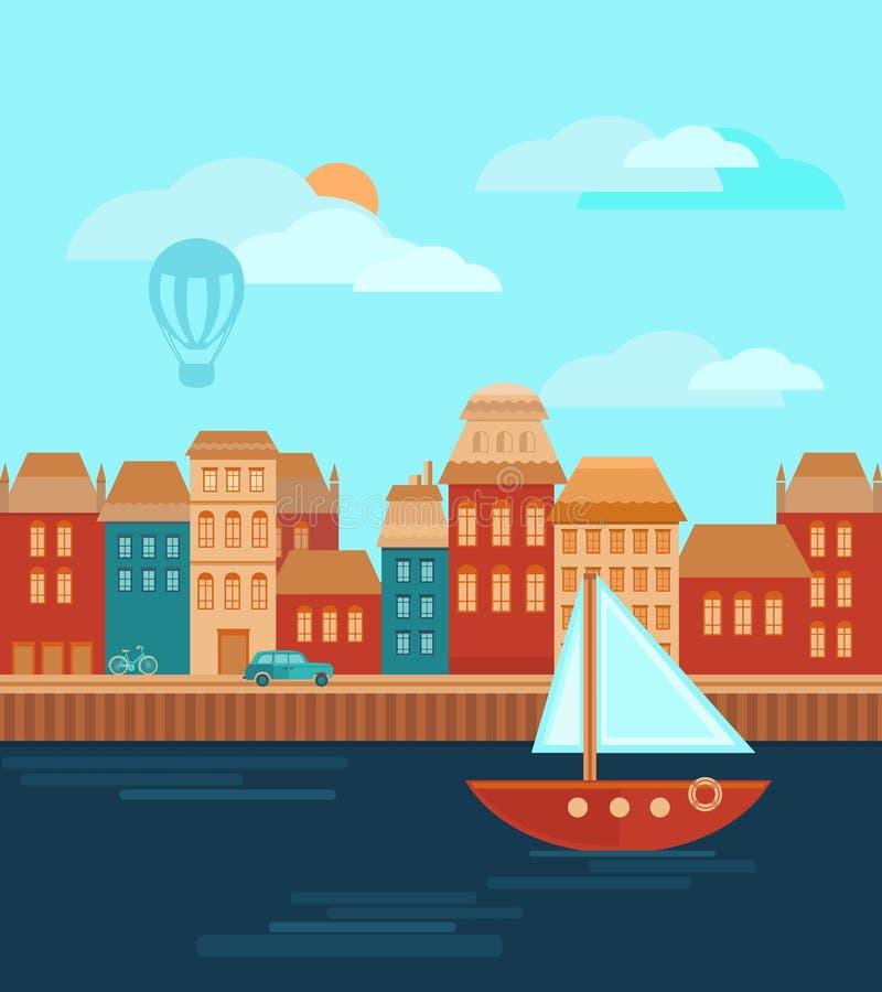 Ciudad por el mar libre illustration